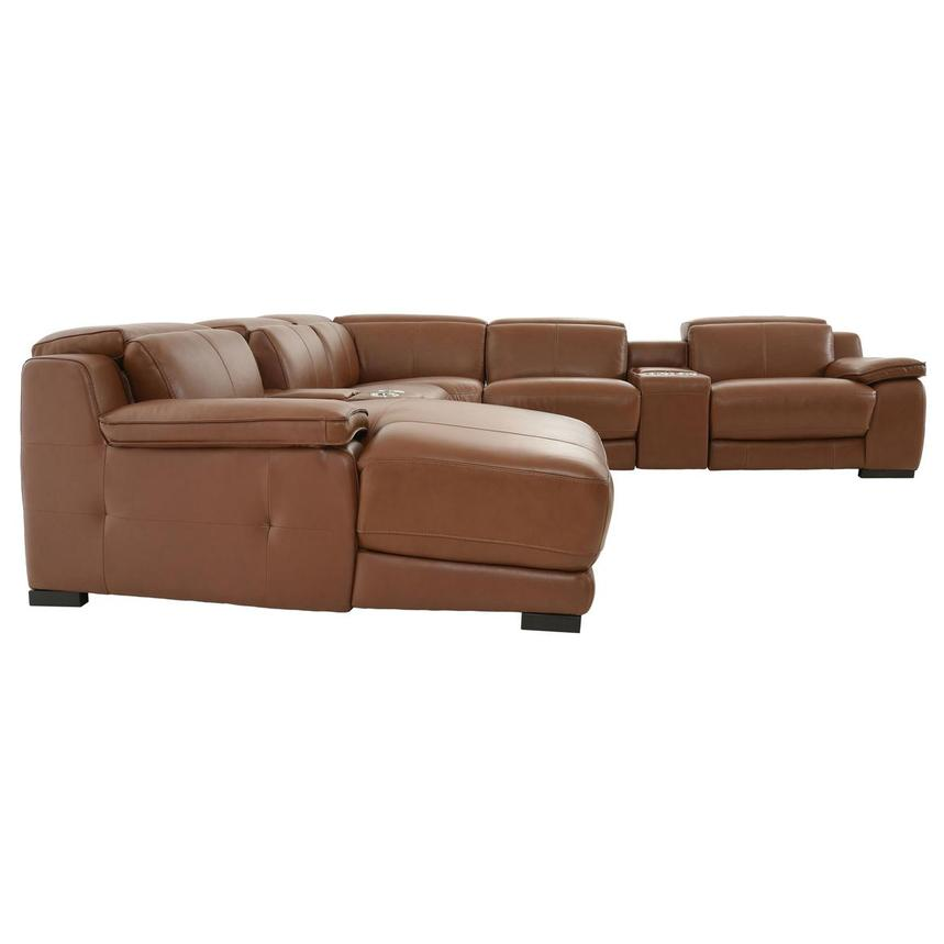 Gian Marco Tan Leather Power Reclining Sectional w/Left Chaise  alternate image, 4 of 9 images.