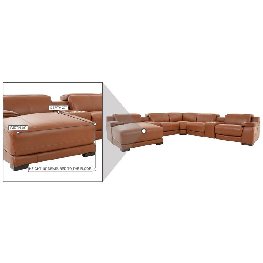 Gian Marco Tan Leather Power Reclining Sectional w/Left Chaise  alternate image, 9 of 9 images.