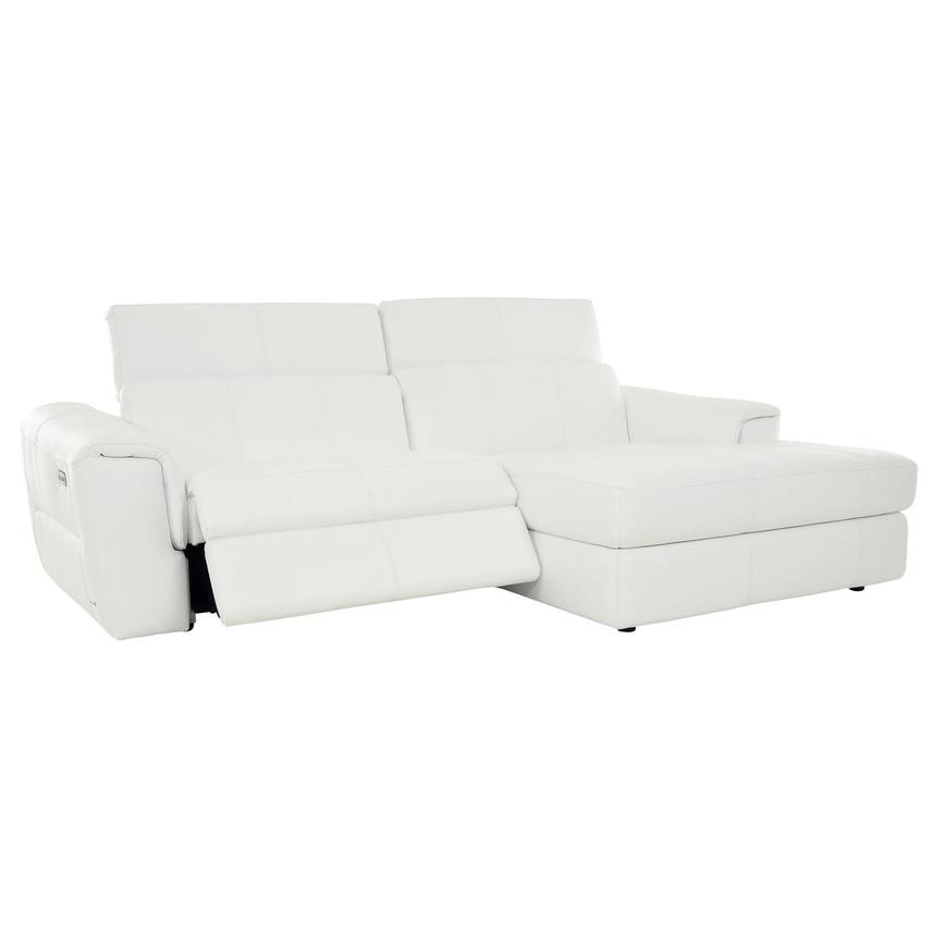 Sofextra White Leather Power Reclining Sofa w/Right Chaise  alternate image, 4 of 16 images.