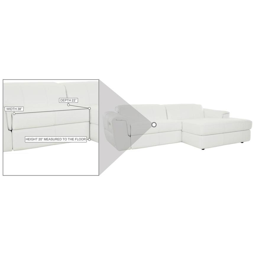 Sofextra White Leather Power Reclining Sofa w/Right Chaise  alternate image, 14 of 16 images.