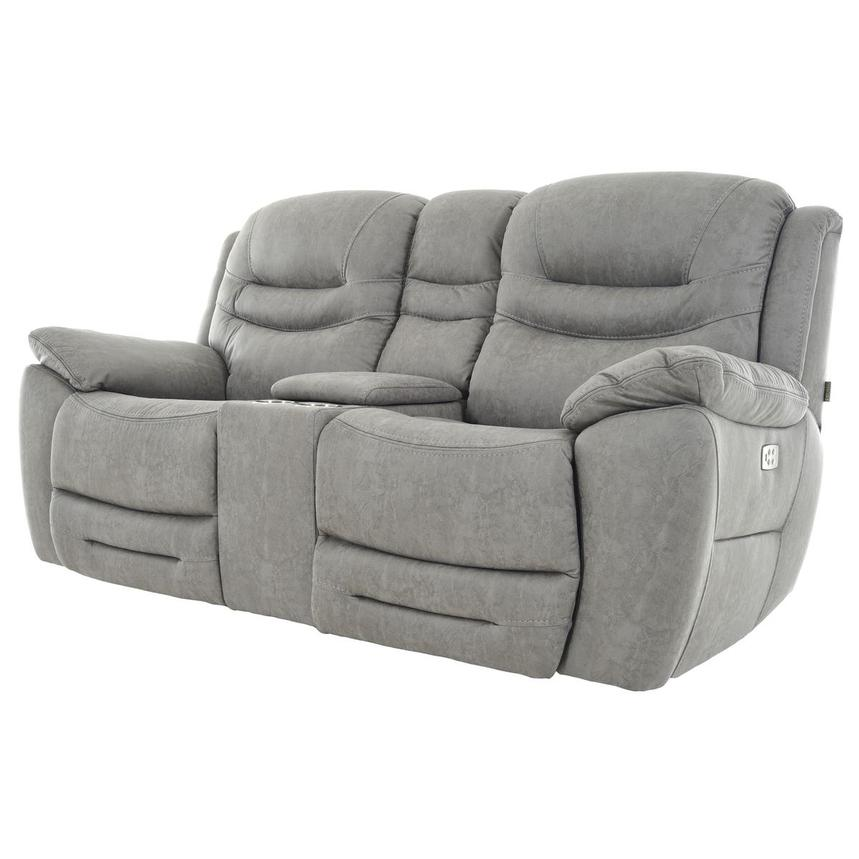Dan Gray Power Reclining Sofa w/Console  alternate image, 2 of 12 images.