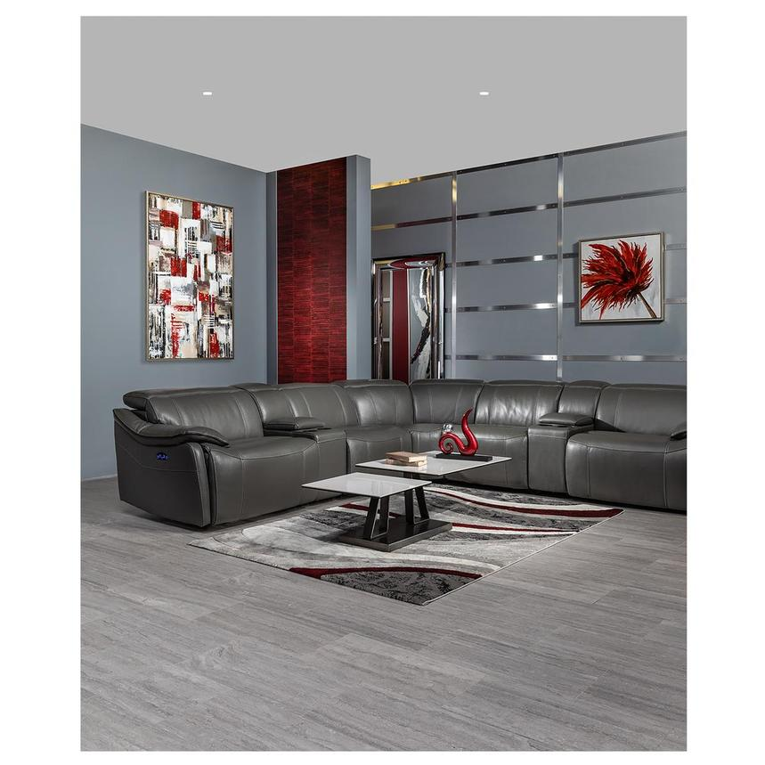 Austin Dark Gray Leather Power Reclining Sectional  alternate image, 2 of 11 images.