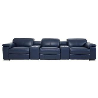 Charlie Blue Home Theater Leather Seating