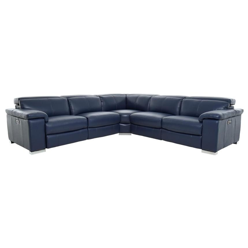 Charlie Blue Leather Power Reclining Sectional  main image, 1 of 10 images.
