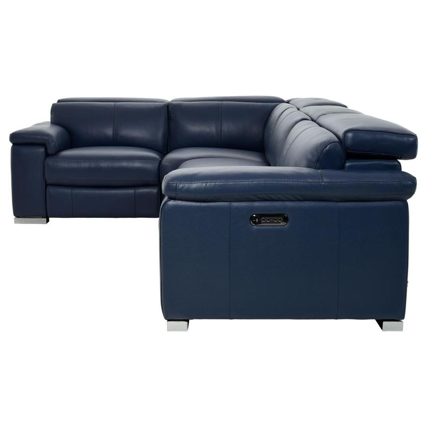 Charlie Blue Leather Power Reclining Sectional  alternate image, 3 of 10 images.