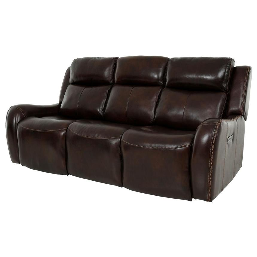 Jake Brown Leather Power Reclining Sofa  alternate image, 3 of 14 images.