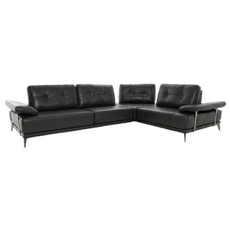 Shale Dark Gray Leather Sectional Sofa