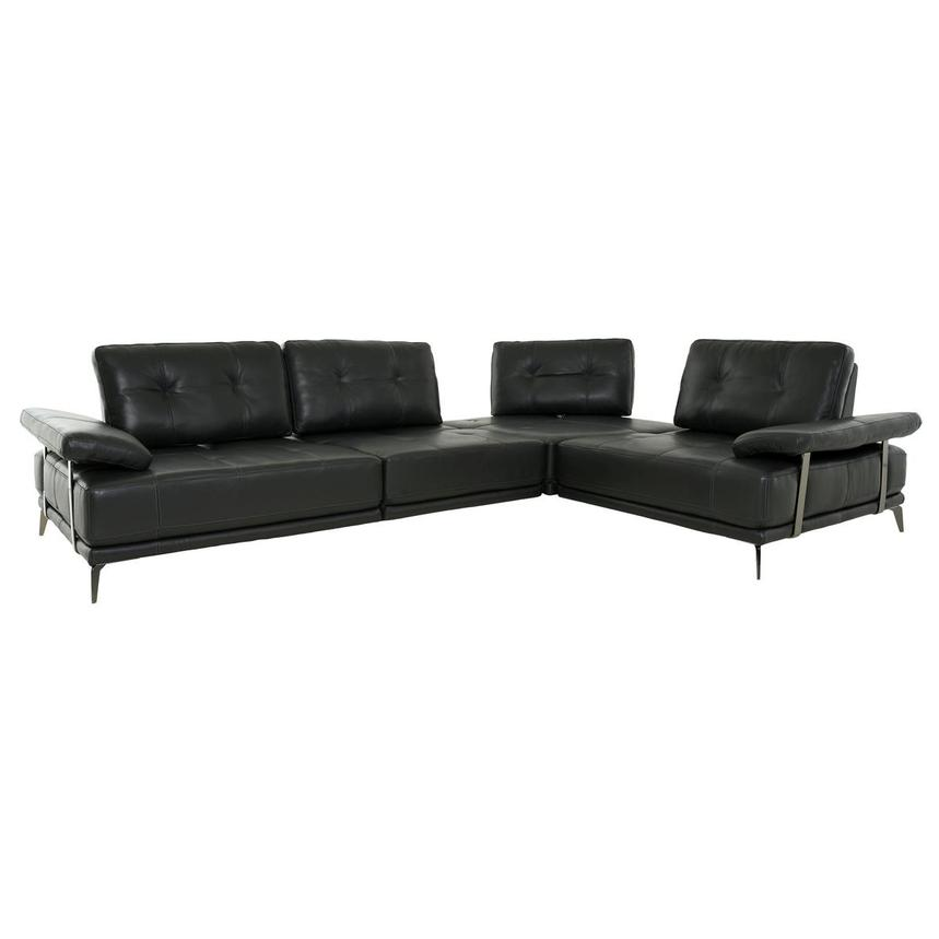 Shale Dark Gray Leather Sectional Sofa  alternate image, 2 of 12 images.