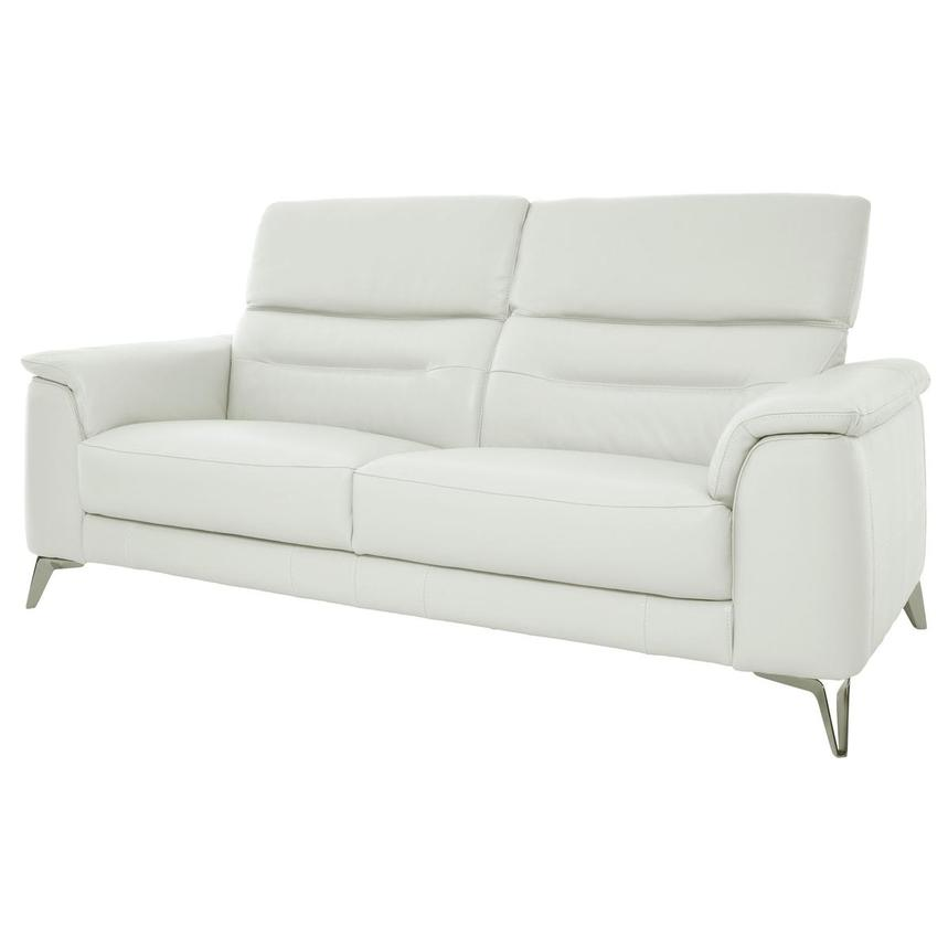 Anabel White Leather Sofa  alternate image, 3 of 11 images.