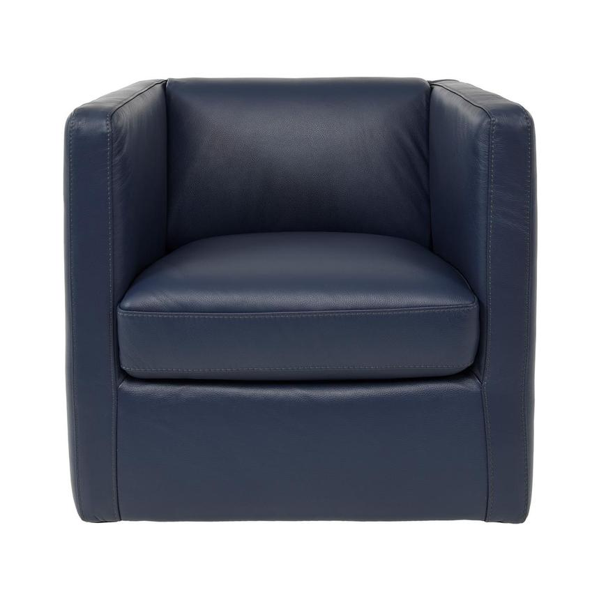 Cute Blue Leather Swivel Chair w/2 Pillows  alternate image, 3 of 11 images.