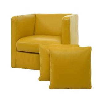 Cute Yellow Leather Swivel Chair w/2 Pillows