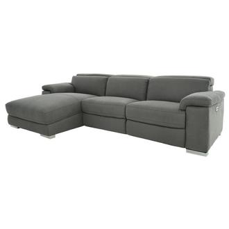 Karly Dark Gray Power Reclining Sectional w/Left Chaise