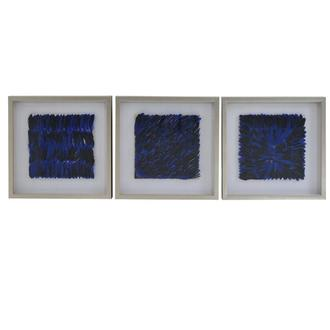Piuma Blue Set of 3 Shadow Boxes