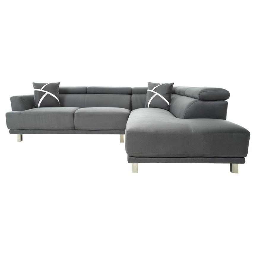 Ilias Gray Corner Sofa w/Right Chaise  alternate image, 4 of 10 images.